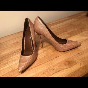 Shoe Republic LA Nude Snake Skin Heels Size 7.5